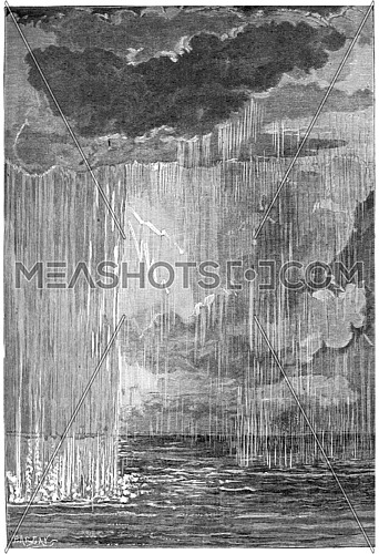 The formation of the atmosphere. First condensation water, vintage engraved illustration. Earth before man – 1886.