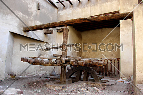 a photo from inside an old house in Islamic Cairo, Egypt showing a place were an irrigation wheel used at that time