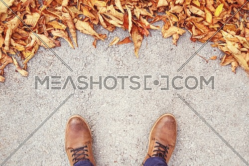 Top shot for Leaves has fallen on the concrete ground. Male shoes on street with leaves, Male shoes on street with leaves