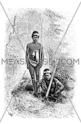 Indians of the Town of San Miguel in Amazonas, Brazil, serving as escorts of Santa Cruz, drawing by Riou from a photograph, vintage engraved illustration. Le Tour du Monde, Travel Journal, 1881
