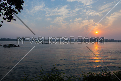 Sunset by the river nile in cairo