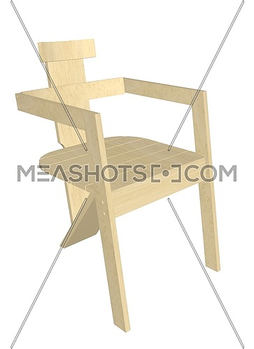 Wooden chair, natural finish, with armrest,  3D illustration, isolated against a white background.