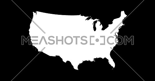 United States of America Map Silhouette Isolated On Black Background 3D illustration
