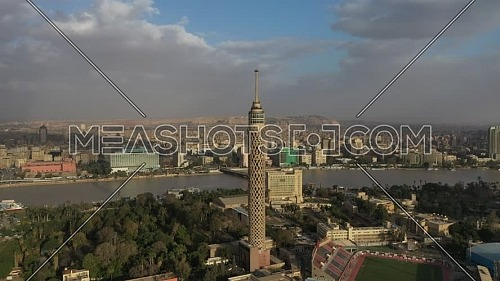 Drone Pass by Cairo Tower on a cloudy beautiful day