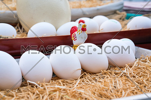 White chicken eggs leaning on straw in wooden basket,close up.
