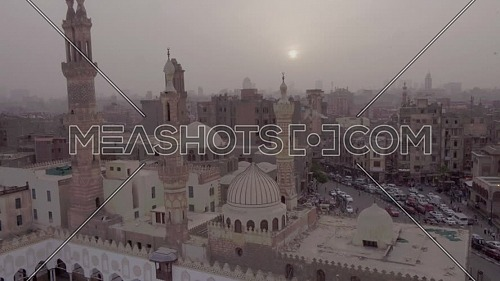 Fly over Shot for Al-Azhar Mosque in Cairo by dusk