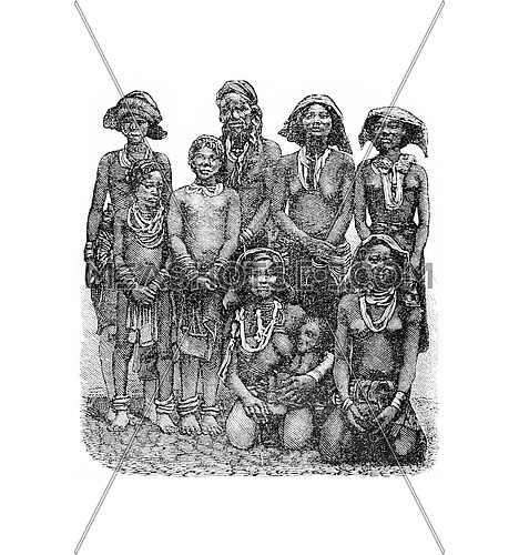 Mandombe Women of Congo, Central Africa, engraving based on the English edition, vintage illustration. Le Tour du Monde, Travel Journal, 1881