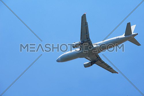 modern airplane travel,  clear blue sky in background