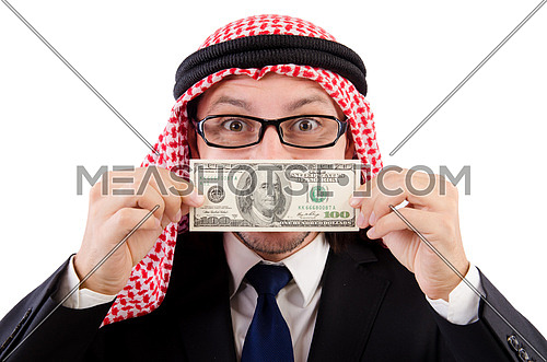 Arab businessman with dollar isolated on white