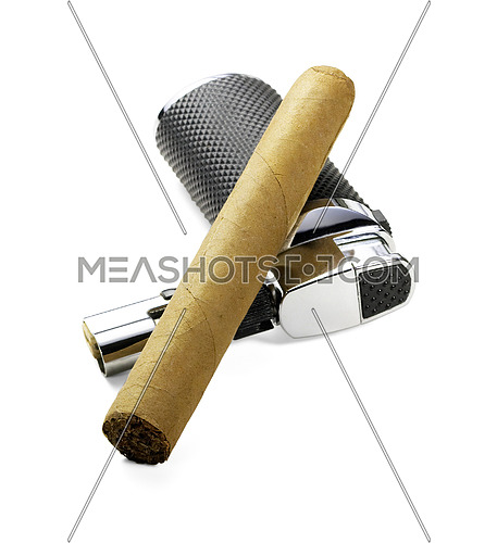 cuban cigar and lighter isolated over white background