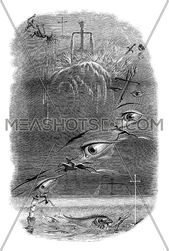 First dream. Crime and Atonement, vintage engraved illustration. Magasin Pittoresque 1847.