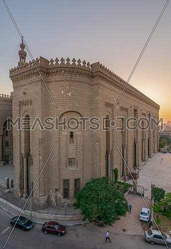 Cairo, Egypt - July 7 2018: External view of Al Rifai historical mosque. View from from Al Rifai Street, Old Cairo