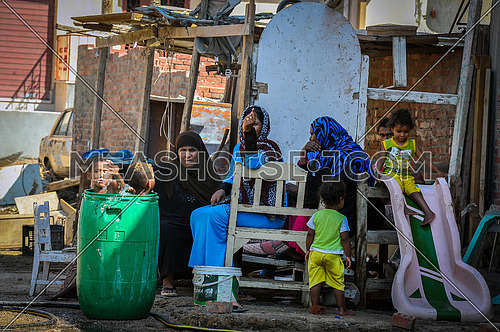 Poor children in Egypt play simple games in the Red Sea city of Hurghada