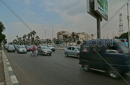 Fixed Shot for traffic at Salah Salim Street at Daytime