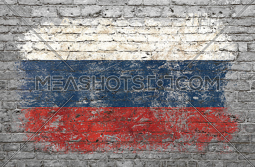 Grunge distressed flag of Russian Federation painted on old weathered grey brick wall