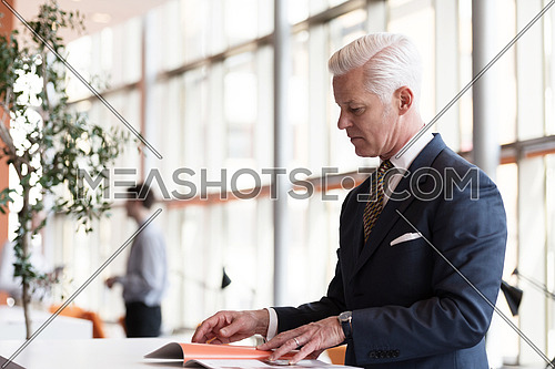 senior business man reading magazine at modern bright office