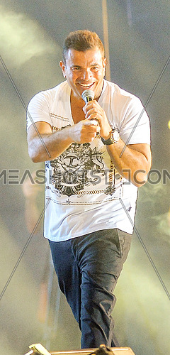 Egyptian pop superstar amr diab on stage during concert in porto marina on 14 August 2015