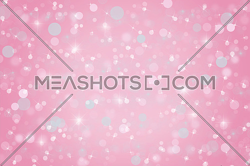 Abstract soft pink Christmas holiday winter background of falling snow bokeh, sparkles and glitter