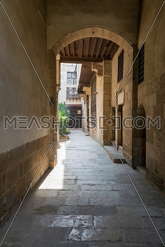 Stone bricks vaulted entrance of historic Beit El Sehemy house located in Moez street, Gamalia district, Cairo, Egypt