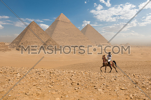 young Egyptian man horse rearing in desert giza platue with the pyramids in background