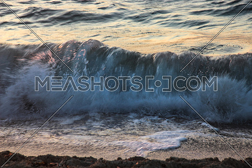a close up for a Mediterranean sea wave from Alexandria , Egypt