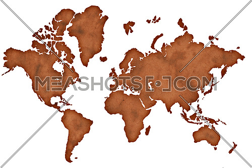 Old vintage darkened brown paper world map isolated on white background