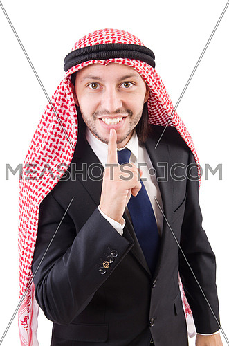 Arab businessman in silence concept isolated on white