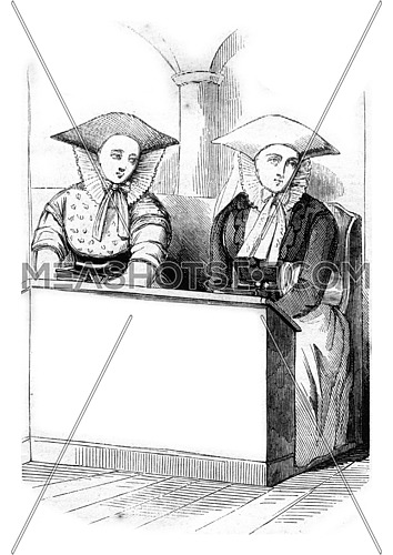 Girls in Sunday suit, vintage engraved illustration. Magasin Pittoresque 1845.