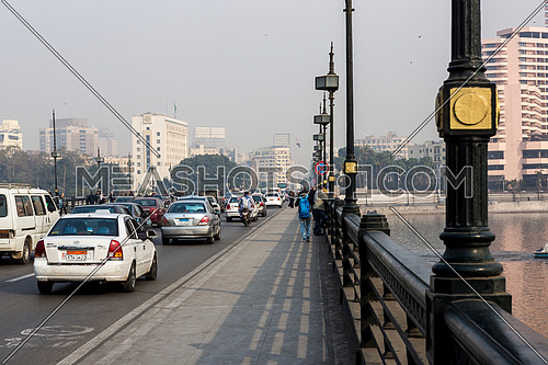 Long Shot for inside Qasr Al Nile Bridge at Day