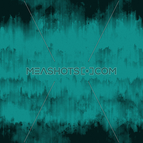 Teal blue abstract grunge surface texture background with uneven dark black paint ink runs, strokes and cracks