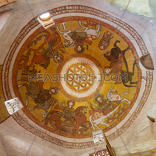Cairo, Egypt - March 24 2018: Dome with Coptic fresco paintings including the flower of life at the Church of St. Paul & St. Mercurius, Monastery of Saint Paul the Anchorite (aka Monastery of the Tigers), Egypt