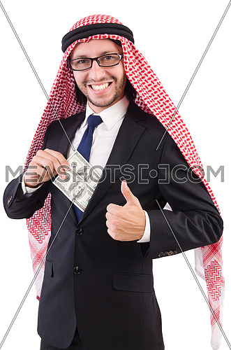 Arab businessman in eyeglasses with dollar   isolated on white