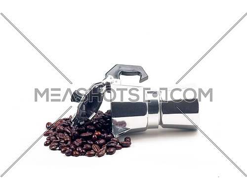 coffee beans and mocha coffee machine on white background