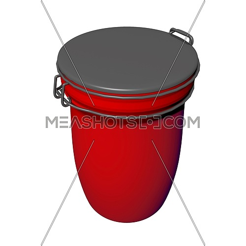 Red and grey jar with lid lock, 3D illustration, isolated against a white background