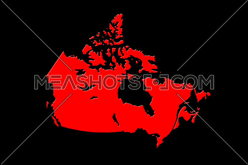 Canadian Map On Black Background 3D Rendering