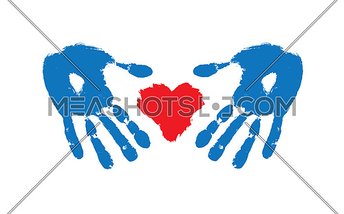 Vector illustration of grunge brushstroke painted red heart shape and protecting hands isolated on white background