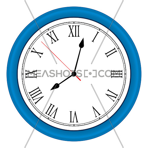 Vector ilustration of one modern round blue wall clock with arabic numerals over white background, low angle front view