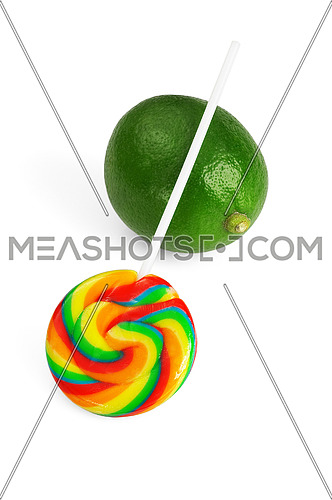 lollipop and lime isolated on white background