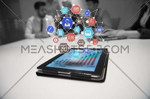 Connected digital applications with icons flying over tablet