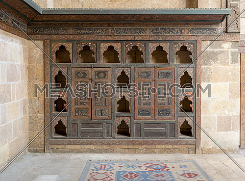 Embedded wooden ornate cupboard, in one of the rooms of Beit (house) El Harrawi, an old Mamluk era historic house in Cairo, built in the18th century