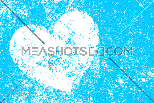 Grunge white heart shape over blue noisy distressed shabby abstract romantic background