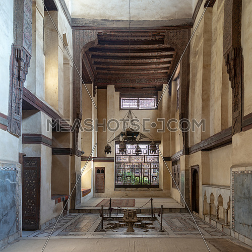 Room at El Sehemy house, an old Ottoman era historic house in Islamic Cairo, built in 1648 with Interleaved wooden window (Mashrabiya) and fountain, Cairo, Egypt