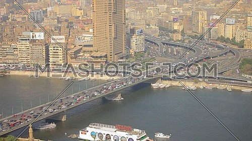 Arial shot for  6 octobre bridge in Cairo at day