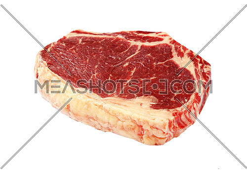 Close up one raw ribeye beef steak with rib bone isolated on white background, high angle view