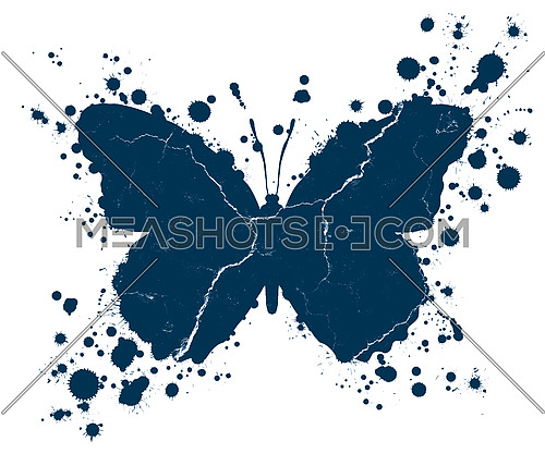 Blue grunge butterfly shape with drops of paint blobs splattered around isolated on white background