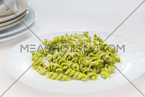 italian fusilli pasta and fresh homemade  pesto sauce