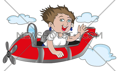 Vector of happy woman riding in airplane.