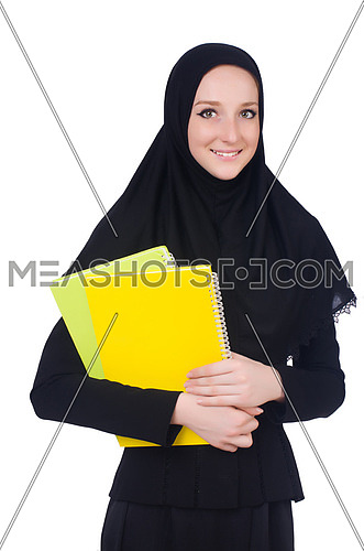 Arab woman student isolated on white