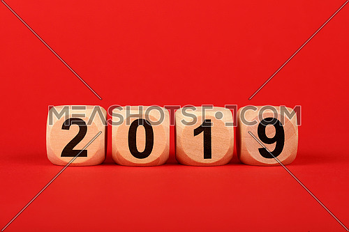 Close up wooden cube signs with 2019 word over red background with copy space, elevated top view, directly above