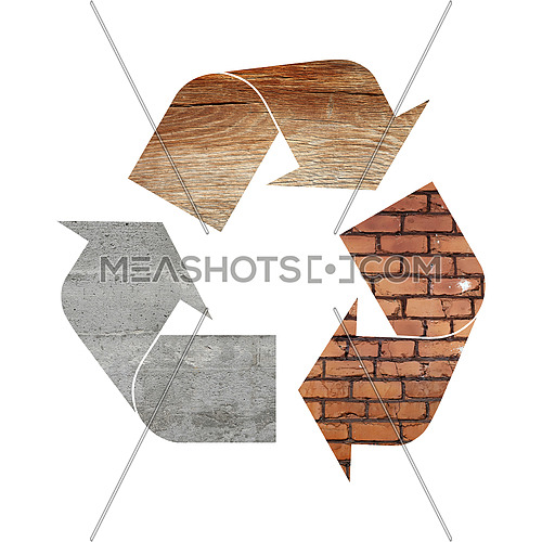 Illustration recycling symbol of different industrial construction materials, concrete, wood and bricks, isolated on white background